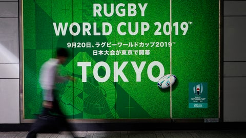 <p>               A man walks past a sign promoting the Rugby World Cup Thursday, Oct. 10, 2019, in Tokyo. The powerful typhoon that has caused the first cancellation of the Rugby World Cup games has ended Italy's prospects of reaching the quarterfinals and could upset Scotland's chances of progressing to the knockout stages as well. (AP Photo/Jae C. Hong)             </p>