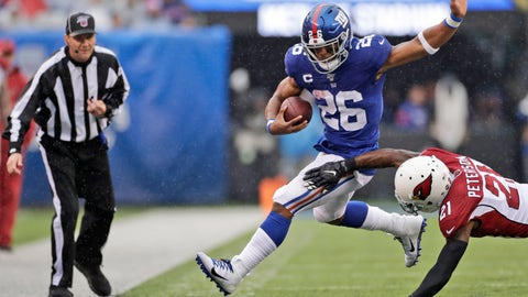 <p>               Arizona Cardinals' Patrick Peterson, right, defends against New York Giants' Saquon Barkley during the first half of an NFL football game, Sunday, Oct. 20, 2019, in East Rutherford, N.J. (AP Photo/Adam Hunger)             </p>
