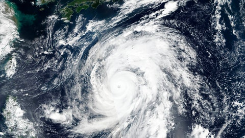 <p>               This Oct. 9, 2019, satellite photo taken by NASA-NOAA's Suomi NPP satellite shows typhoon Hagibis approaching Japan, top.  Japan's weather agency is warning a powerful typhoon may bring torrential rains to central Japan over the weekend. Typhoon Hagibis had winds gusting up to 270 kilometers per hour (168 mph) Thursday morning. It is expected to weaken over cooler waters as it nears Japan's main island.(NASA Worldview, Earth Observing System Data and Information System (EOSDIS) via AP)             </p>