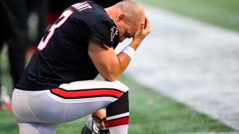 <p>               Atlanta Falcons kicker Matt Bryant (3) kneels on the sidelines during the second half of an NFL football game against the Seattle Seahawks, Sunday, Oct. 27, 2019, in Atlanta. The Seattle Seahawks won 27-20. AP Photo/John Amis)             </p>