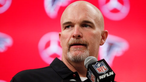 <p>               Atlanta Falcons head coach Dan Quinn speaks during a news conference after an NFL football game against the Seattle Seahawks, Sunday, Oct. 27, 2019, in Atlanta. The Seattle Seahawks won 27-20. (AP Photo/John Bazemore)             </p>
