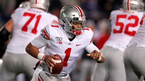 <p>               Ohio State quarterback Justin Fields (1) scrambles during the first half of an NCAA college football game against  Northwestern, Friday, Oct. 18, 2019, in Evanston, Ill. (AP Photo/Charles Rex Arbogast)             </p>