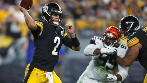 <p>               Pittsburgh Steelers quarterback Mason Rudolph (2) passes during the first half of an NFL football game against the Cincinnati Bengals in Pittsburgh, Monday, Sept. 30, 2019. (AP Photo/Tom Puskar)             </p>