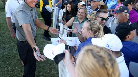 <p>               Phil Mickelson signs autographs after finishing the 18th hole during the second round of Shriners Hospitals for Children Open golf tournament at TPC Summerlin in Las Vegas on Friday, Oct. 4, 2019. (K.M. Cannon/Las Vegas Review-Journal)             </p>