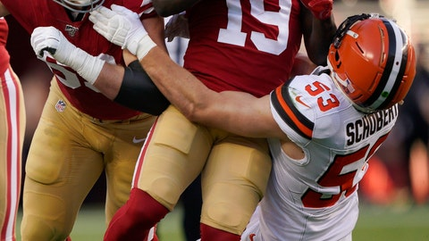 <p>               San Francisco 49ers wide receiver Deebo Samuel (19) is tackled by Cleveland Browns middle linebacker Joe Schobert (53) during the first half of an NFL football game in Santa Clara, Calif., Monday, Oct. 7, 2019. At left is 49ers offensive tackle Mike McGlinchey. (AP Photo/Tony Avelar)             </p>
