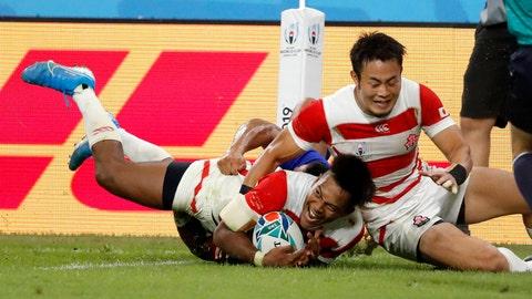<p>               Japan's Kotaro Matsushima reacts after scoring a try during the Rugby World Cup Pool A game at City of Toyota Stadium between Japan and Samoa in Tokyo City, Japan, Saturday, Oct. 5, 2019. Japan defeated Samoa 38-19.(AP Photo/Shuji Kajiyama)             </p>