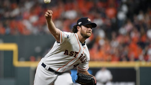 <p>               Houston Astros starting pitcher Gerrit Cole delivers to a Tampa Bay Rays batter during the first inning during Game 2 of a baseball American League Division Series in Houston, Saturday, Oct. 5, 2019. (AP Photo/Eric Christian Smith)             </p>