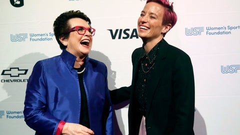 <p>               In this Wednesday, Oct. 16, 2019, photo tennis great and founder of the Women's Sports Foundation Billie Jean King, left, and soccer star Megan Rapinoe pose for photos on the red carpet of the Women's Sports Foundation's 40th annual Salute to Women in Sports in New York. Rapinoe, who was honored at the gala, won Sportswoman of the Year in the team category. She led the U.S. women's soccer team to victory at the World Cup in France and earned the FIFA Player of the Year award.  (AP Photo/Mary Altaffer)             </p>