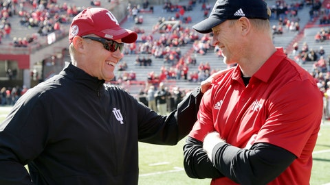 <p>               Indiana head coach Tom Allen, left, and Nebraska head coach Scott Frost chat before an NCAA college football game in Lincoln, Neb., Saturday, Oct. 26, 2019. (AP Photo/Nati Harnik)             </p>