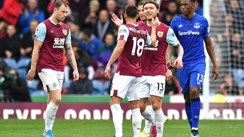 <p>               Burnley's Jeff Hendrick, centre right, celebrates scoring against Everton during the English Premier League soccer match at Turf Moor, Burnley, England, Saturday Oct. 5, 2019. (Anthony Devlin/PA via AP)             </p>