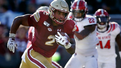 <p>               Boston College running back AJ Dillon (2) runs for a touchdown during the second half of an NCAA college football game against North Carolina State in Boston, Saturday, Oct. 19, 2019. (AP Photo/Michael Dwyer)             </p>