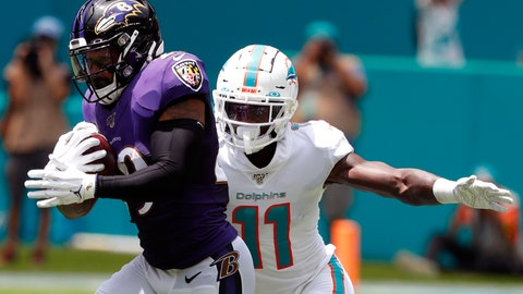 <p>               FILE - In this Sept. 8, 2019, file photo, Baltimore Ravens free safety Earl Thomas (29) intercepts a pass, as Miami Dolphins wide receiver DeVante Parker (11), attempts to tackle, during the first half at an NFL football game, in Miami Gardens, Fla. Over the course of nine NFL seasons with the Seattle Seahawks, Earl Thomas picked off 28 passes, earned a Super Bowl ring and was selected to the Pro Bowl six times. Those are some of the memories the standout safety will take across the country before he faces former team on Sunday as a member of the Baltimore Ravens.(AP Photo/Wilfredo Lee, File)             </p>
