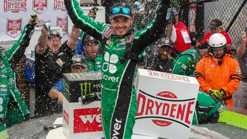 <p>               Kyle Larson celebrates his win in the NASCAR Cup Series auto race Sunday, Oct. 6, 2019, at Dover International Speedway in Dover, Del. (AP Photo/Jason Minto)             </p>