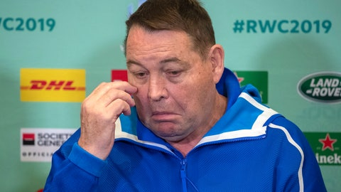 <p>               New Zealand coach Steve Hansen answers questions during a press conference in Tokyo, Japan, Sunday, Oct. 27, 2019. The defending champions lost their Rugby World Cup semifinal to England 19-7 in Yokohama on Saturday, Oct. 26. (Mark Mitchell/New Zealand Herald via AP)             </p>