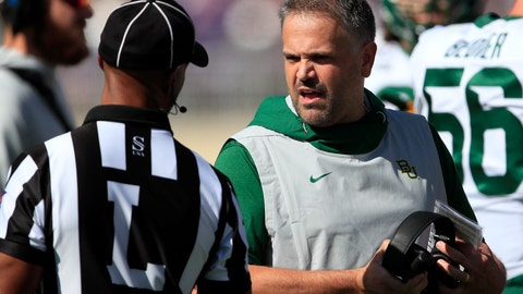 <p>               Baylor head coach Matt Rhule, right, talks with line judge Quentin Givens, left, during the first half of an NCAA college football game against Kansas State in Manhattan, Kan., Saturday, Oct. 5, 2019. (AP Photo/Orlin Wagner)             </p>
