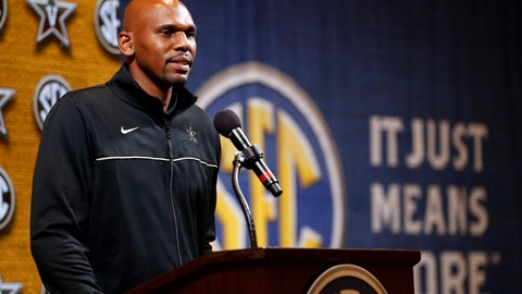 <p>               Vanderbilt head coach Jerry Stackhouse speaks during the Southeastern Conference NCAA college basketball media day, Wednesday, Oct. 16, 2019, in Birmingham, Ala. (AP Photo/Butch Dill)             </p>
