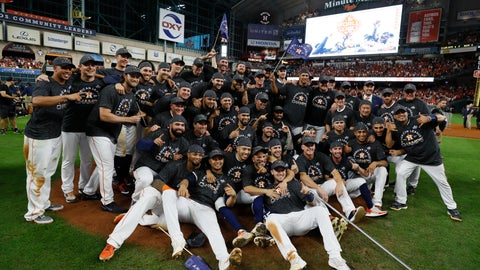 <p>               Houston Astros pose after winning Game 6 of baseball's American League Championship Series against the New York Yankees Saturday, Oct. 19, 2019, in Houston. The Astros won 6-4 to win the series 4-2. (AP Photo/Matt Slocum)             </p>