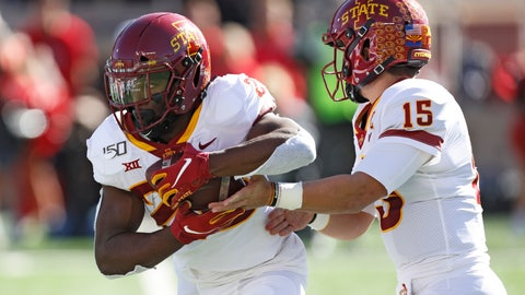 <p>               Iowa State's Brock Purdy (15) hands the ball off to Breece Hall (28) during the first half of an NCAA college football game against Texas Tech, Saturday, Oct. 19, 2019, in Lubbock, Texas. (Brad Tollefson/Lubbock Avalanche-Journal via AP)             </p>