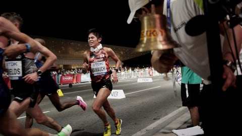 <p>               Yuki Kawauchi, of Japan, runs as the bell for the final lap is rung during the men's marathon at the World Athletics Championships in Doha, Qatar, Sunday, Oct. 6, 2019. (AP Photo/Nariman El-Mofty)             </p>