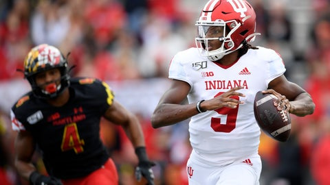 <p>               Indiana quarterback Michael Penix Jr. (9) looks to pass as he is pursued by Maryland linebacker Keandre Jones (4) during the first half of an NCAA college football game, Saturday, Oct. 19, 2019, in College Park, Md. (AP Photo/Nick Wass)             </p>