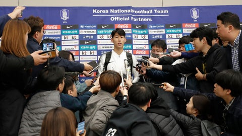 "<p>               South Korean national soccer team player Son Heung-min answers a reporter's question upon his arrival at Incheon International Airport in Incheon, South Korea, Thursday, Oct. 17, 2019. South Korea's national soccer team has described their World Cup qualifier against North Korea in Pyongyang as a ""rough"" and strange match. (AP Photo/Lee Jin-man)             </p>"