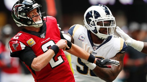 <p>               Atlanta Falcons quarterback Matt Ryan (2) works in the pocket against the Los Angeles Rams during the first half of an NFL football game, Sunday, Oct. 20, 2019, in Atlanta. (AP Photo/John Bazemore)             </p>