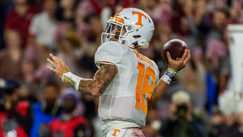 <p>               Tennessee quarterback Brian Maurer (18) throws during the first half of an NCAA college football game against Alabama, Saturday, Oct. 19, 2019, in Tuscaloosa, Ala. (AP Photo/Vasha Hunt)             </p>