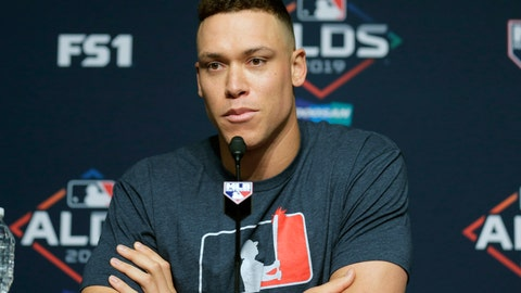 <p>               New York Yankees' Aaron Judge talks to reporters during a news conference at Yankee Stadium, Thursday, Oct. 3, 2019, in New York. The Yankees will host the Minnesota Twins in the first game of an American League Division Series on Friday. (AP Photo/Seth Wenig)             </p>