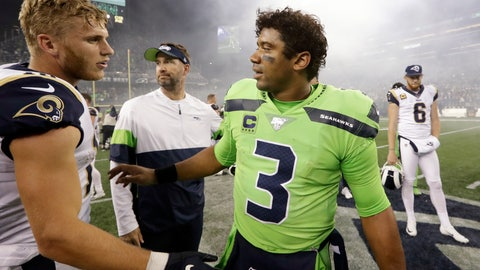 <p>               Seattle Seahawks quarterback Russell Wilson (3) greets Los Angeles Rams' Cooper Kupp after an NFL football game Thursday, Oct. 3, 2019, in Seattle. The Seahawks won 30-29. (AP Photo/Elaine Thompson)             </p>