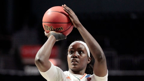 <p>               FILE - In this March 22, 2019 file photo, Miami forward Beatrice Mompremier (32) aims a free throw, during a first round women's college basketball game against FGCU, in the NCAA Tournament in Coral Gables, Fla. Mompremier was picked as the preseason player of the year after averaging 16.7 points and 12.2 rebounds and earning a spot on the all-ACC team in 2018-19. (AP Photo/Luis M. Alvarez, File)             </p>