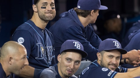 <p>               Tampa Bay Rays Kevin Kiermaier, top left, relaxes in the dugout with teammates in the fourth inning of a baseball game against the Toronto Blue Jays in Toronto Saturday Sept. 28, 2019. (Fred Thornhill/The Canadian Press via AP)             </p>