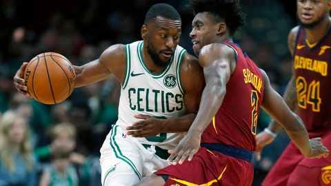 <p>               Cleveland Cavaliers' Collin Sexton (2) fouls Boston Celtics' Kemba Walker, left, during the first half of an NBA preseason basketball game in Boston, Sunday, Oct. 13, 2019. (AP Photo/Michael Dwyer)             </p>