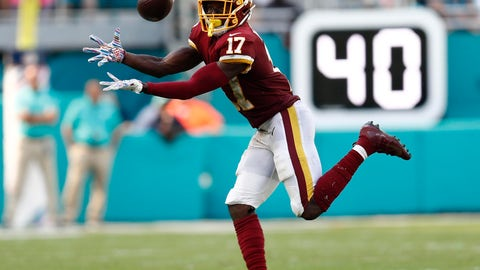 <p>               Washington Redskins wide receiver Terry McLaurin (17) grabs a pass, during the second half at an NFL football game against the Miami Dolphins, Sunday, Oct. 13, 2019, in Miami Gardens, Fla. McLaurin scored two touchdowns. The Redkskins defeated the Dolphins 17-16. (AP Photo/Brynn Anderson)             </p>