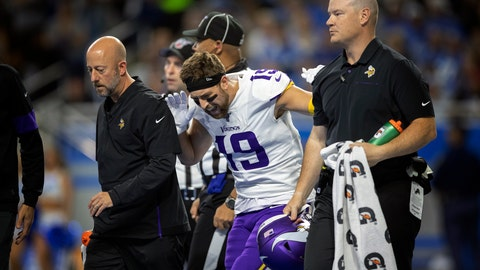 <p>               Minnesota Vikings wide receiver Adam Thielen (19) reacts after putting weight on his right leg, as he walks off the field with a hamstring injury in the first quarter of an NFL football game against the Detroit Lions, Sunday, Oct. 20, 2019, in Detroit. (Jerry Holt/Star Tribune via AP)             </p>