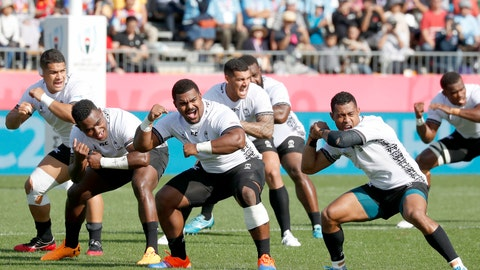 <p>               Fiji's players perform the Cibi ahead of their Rugby World Cup Pool D match against Uruguay in Kamaishi, northeastern Japan, Wednesday, Sept. 25, 2019. (Naoya Osato/Kyodo News via AP)             </p>