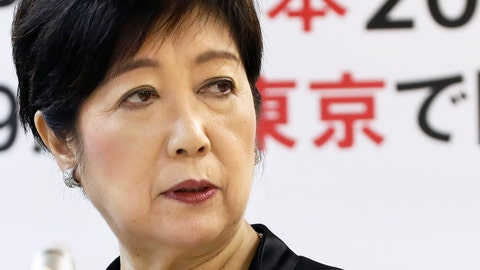 <p>               FILE - In this Oct. 25, 2019, file photo, Tokyo Gov. Yuriko Koike speaks about a proposal from the International Olympic Committee to move the marathons and race walking events to Sapporo, during a regular press conference in Tokyo. Tokyo city officials are in a public feud with the International Olympic Committee over IOC plans, made without consulting the city or local organizers, to move the marathon 800 kilometers (500 miles) north to avoid Tokyo's summer heat. (Shinji Kita/Kyodo News via AP, File)             </p>