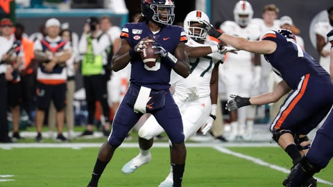 <p>               Virginia quarterback Bryce Perkins (3) looks to pass during the first half of an NCAA college football game against Miami, Friday, Oct. 11, 2019, in Miami Gardens, Fla. (AP Photo/Lynne Sladky)             </p>