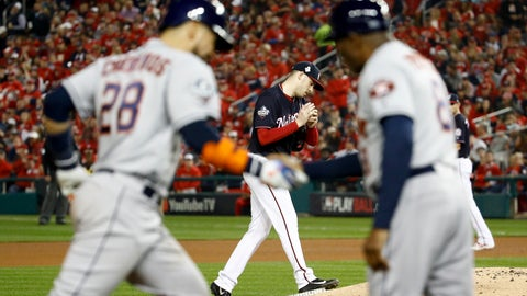 <p>               Houston Astros' Robinson Chirinos, left, rounds the bases after a two-run home run off Washington Nationals starting pitcher Patrick Corbin during the fourth inning of Game 4 of the baseball World Series Saturday, Oct. 26, 2019, in Washington.(AP Photo/Patrick Semansky)             </p>