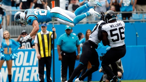 <p>               Carolina Panthers running back Christian McCaffrey (22) dives into the end zone for a touchdown during the first half of an NFL football game against the Jacksonville Jaguars in Charlotte, N.C., Sunday, Oct. 6, 2019. (AP Photo/Brian Blanco)             </p>
