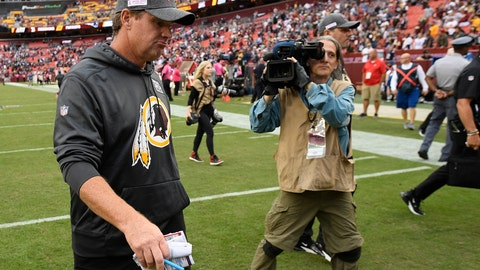 <p>               Washington Redskins head coach Jay Gruden leaves the field after an NFL football game against the New England Patriots, Sunday, Oct. 6, 2019, in Washington. The New England Patriots won 33-7. (AP Photo/Nick Wass)             </p>