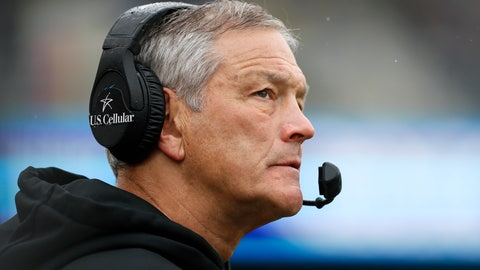 <p>               Iowa head coach Kirk Ferentz watches from the sideline during the second half of an NCAA college football game against Purdue, Saturday, Oct. 19, 2019, in Iowa City, Iowa. Iowa won 26-20. (AP Photo/Charlie Neibergall)             </p>
