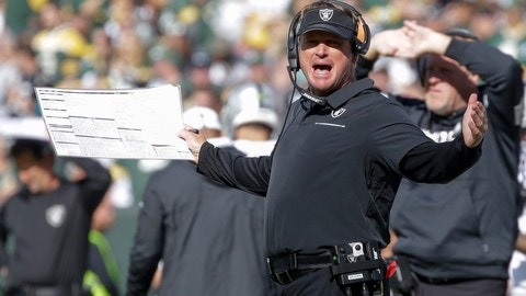 <p>               Oakland Raiders head coach Jon Gruden reacts during the second half of an NFL football game against the Green Bay Packers Sunday, Oct. 20, 2019, in Green Bay, Wis. (AP Photo/Jeffrey Phelps)             </p>