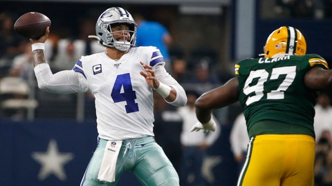 <p>               Dallas Cowboys quarterback Dak Prescott (4) throws a pass under pressure from Green Bay Packers' Kenny Clark (97) in the first half of an NFL football game in Arlington, Texas, Sunday, Oct. 6, 2019. The pass was intercepted by Chandon Sullivan. (AP Photo/Ron Jenkins)             </p>