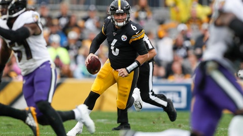 <p>               Pittsburgh Steelers backup quarterback Devlin Hodges (6) scrambles for a first down in the second half of an NFL football game, Sunday, Oct. 6, 2019, in Pittsburgh. The Ravens won 26-23 in overtime. (AP Photo/Don Wright)             </p>