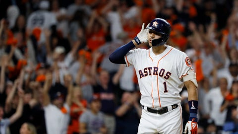 <p>               Houston Astros shortstop Carlos Correa celebrates after his walk-off home run against the New York Yankees during the 11th inning in Game 2 of baseball's American League Championship Series Monday, Oct. 14, 2019, in Houston. (AP Photo/Matt Slocum)             </p>