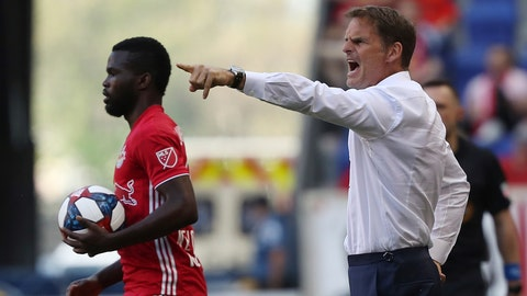 <p>               FILE - In this May 19, 2019, file photo, Atlanta United head coach Frank de Boer, right, yells instructions to his team during the first half of an MLS soccer match against the New York Red Bulls, in Harrison, N.J. Atlanta United, the defending MLS Cup champions, are heading into the playoffs from essentially the same position as last season. (AP Photo/Steve Luciano, File)             </p>
