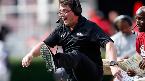 <p>               South Carolina head coach Will Muschamp reacts as Georgia misses a field goal in the second half of an NCAA college football game Saturday, Oct. 12, 2019, in Athens, Ga. South Carolina won 20-17 in double overtime. (AP Photo/John Bazemore)             </p>