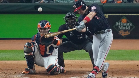 <p>               Washington Nationals' Ryan Zimmerman hits a home run during the second inning of Game 1 of the baseball World Series against the Houston Astros Tuesday, Oct. 22, 2019, in Houston. (AP Photo/Eric Gay)             </p>