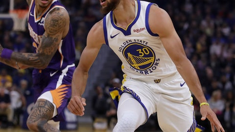 <p>               Phoenix Suns' Kelly Oubre Jr., left, guards Golden State Warriors' Stephen Curry during the first half of an NBA basketball game Wednesday, Oct. 30, 2019, in San Francisco. (AP Photo/Ben Margot)             </p>