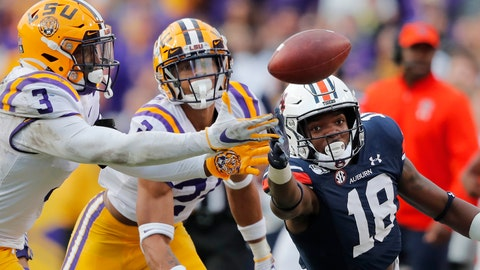 <p>               LSU cornerback Derek Stingley Jr. (24) and safety JaCoby Stevens (3) break top a pass intended for Auburn wide receiver Seth Williams (18) in the second half of an NCAA college football game in Baton Rouge, La., Saturday, Oct. 26, 2019. LSU won 23-20. (AP Photo/Gerald Herbert)             </p>